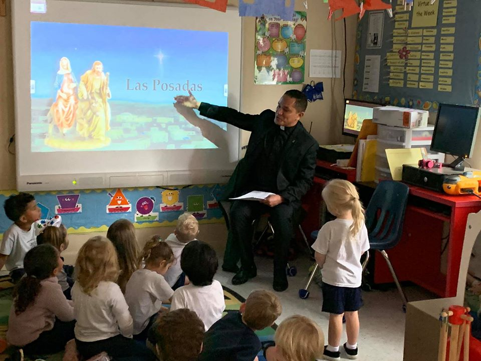 Fr Octavio shared all about Las Posadas with the Pre K today.