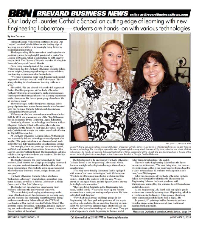 OLL School Engineering Laboratory article on Brevard Business News.